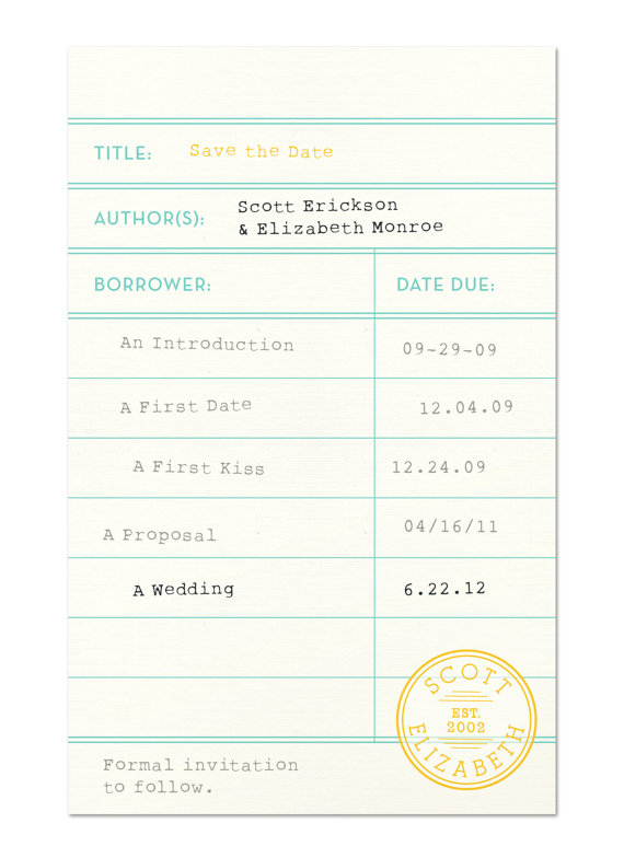 Sweet Mint Press Library Card Save the Date