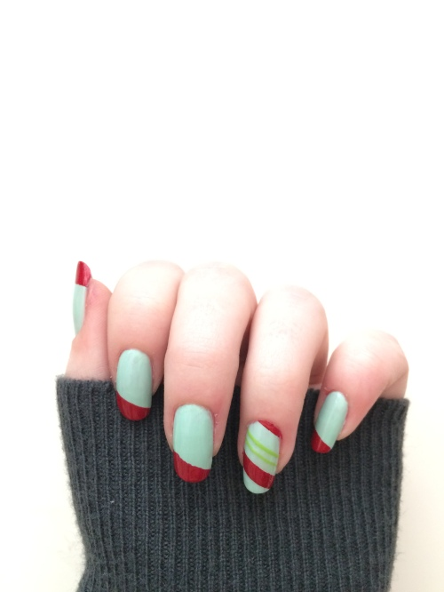 Candy Cane Inspired Nail Art