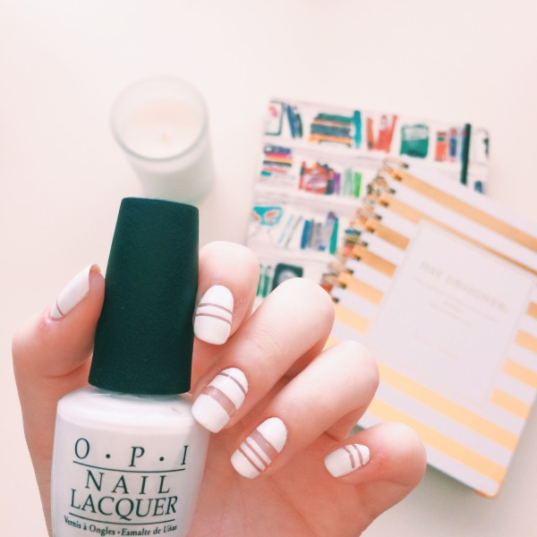 White Negative Space Manicure // Novels and Nail Polish