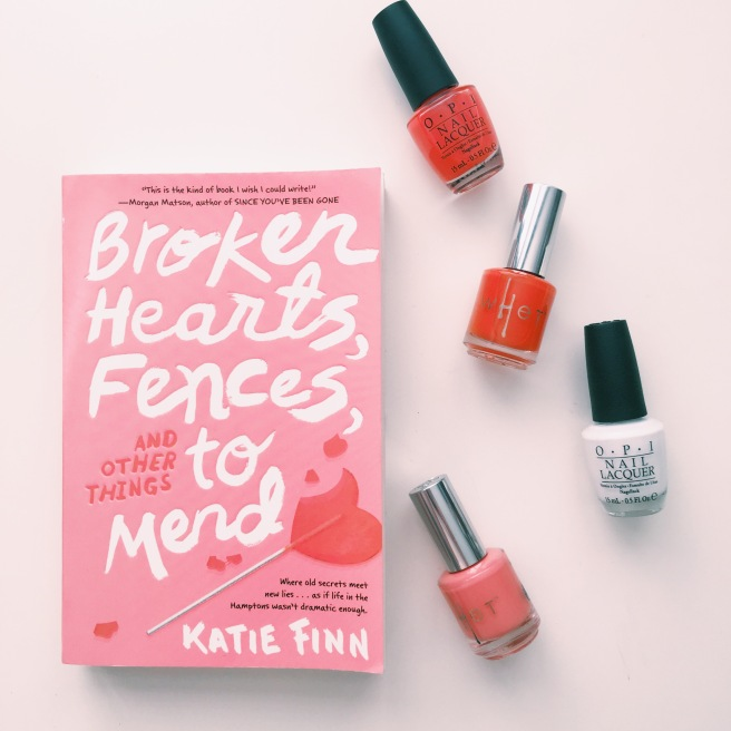Broken Hearts, Fences and Other Things to Mend cover inspired manicure // Novels and Nail Polish