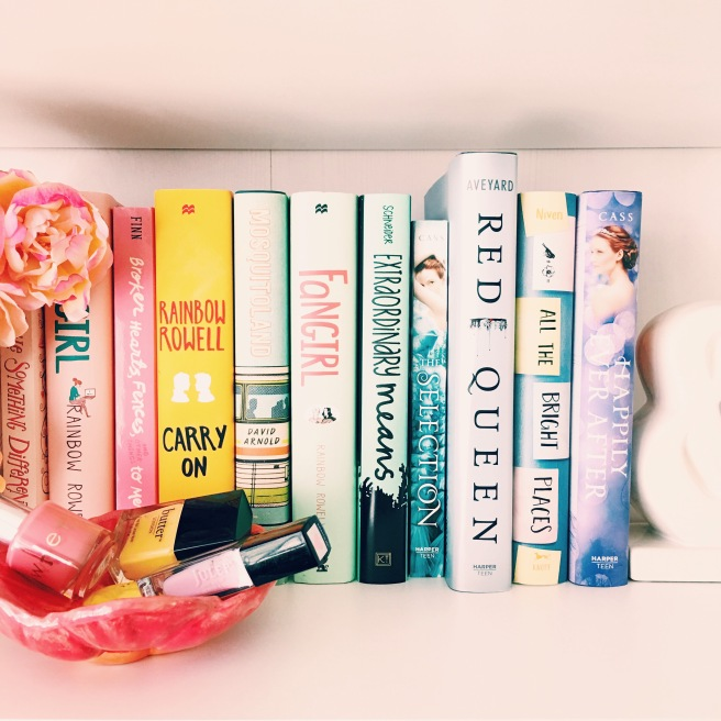 Spring pastel bookshelf // Novels and Nail Polish